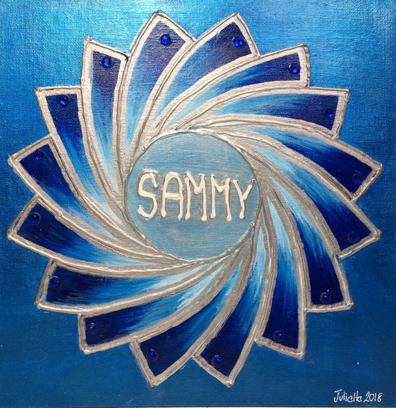 Sammy, personalised mandala, gift, appreciation, teacher, mentor, blue, IKEC