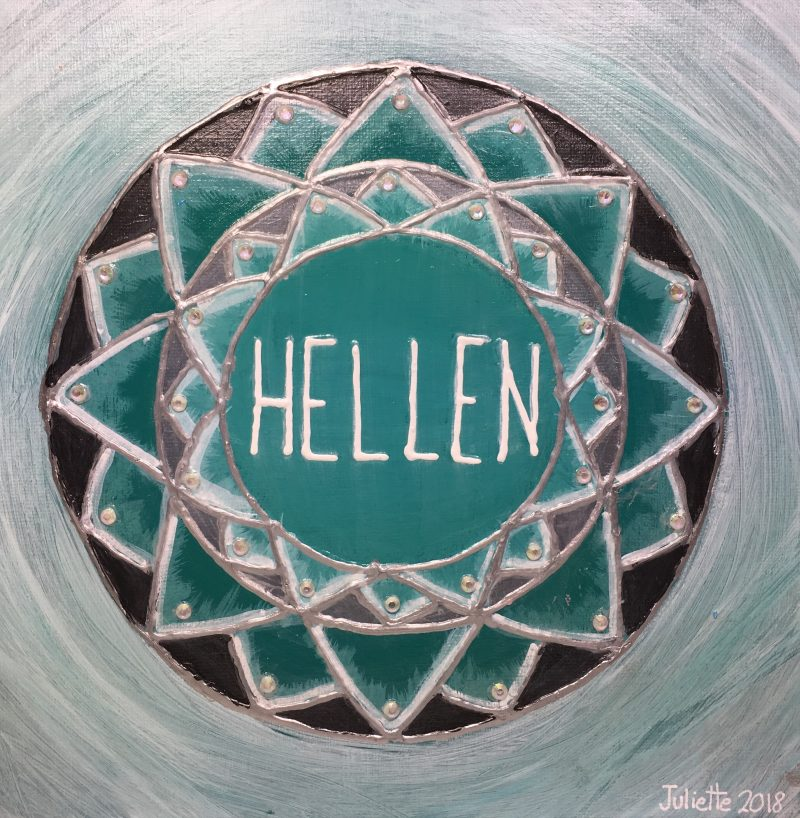 Hellen, personalised mandala, gift, appreciation, family coach, green, grey, IKEC