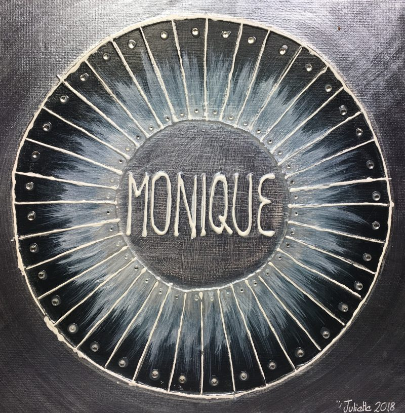Monique, personalised mandala, gift, appreciation, teacher, black, IKEC
