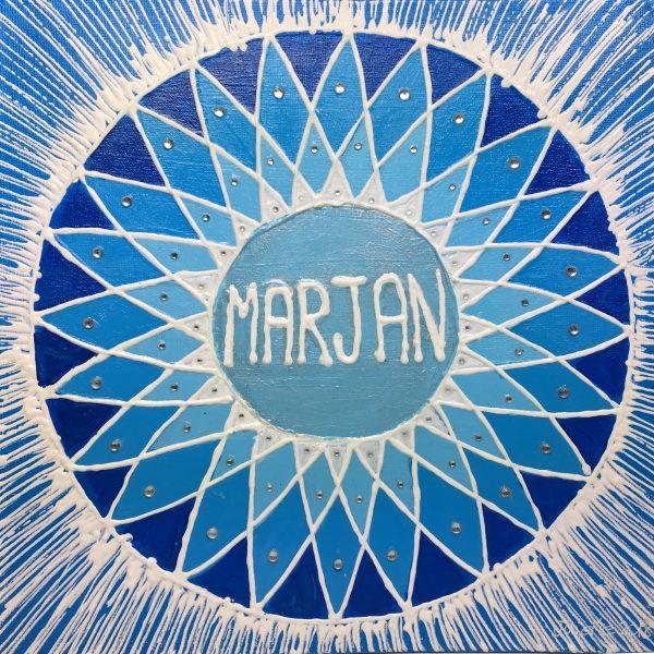 Marjan, personalised mandala, gift, appreciation, teacher, black, IKEC