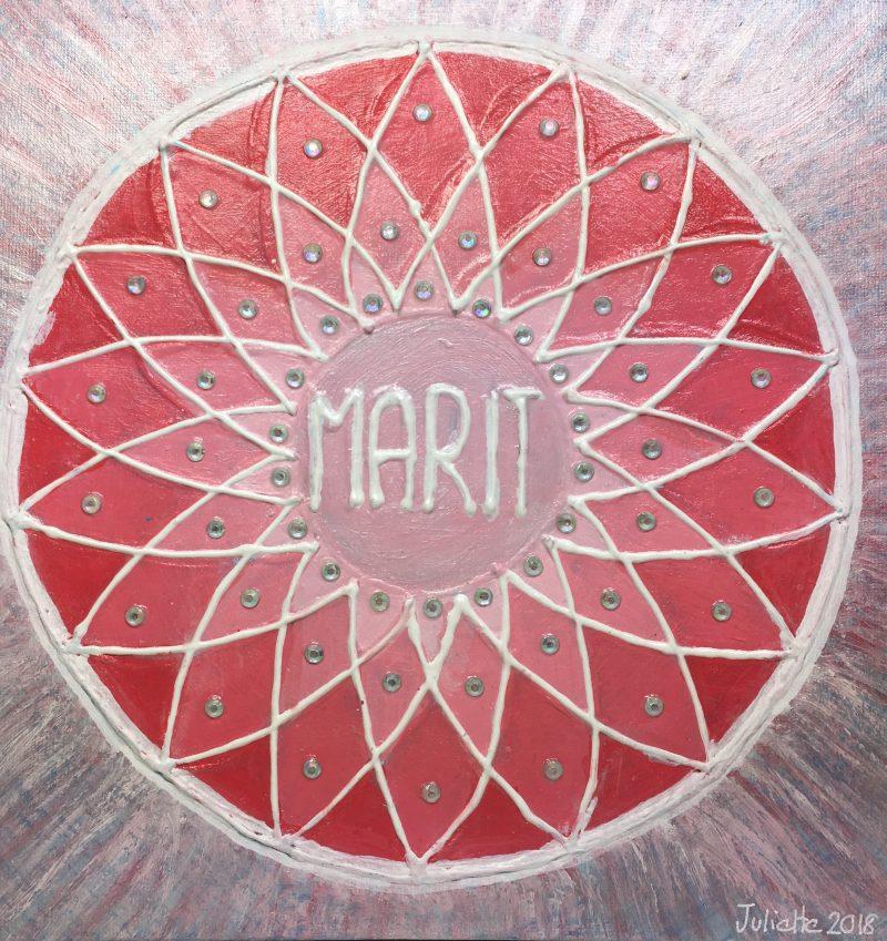 Marit, personalised mandala, gift, appreciation, teacher, pink, IKEC