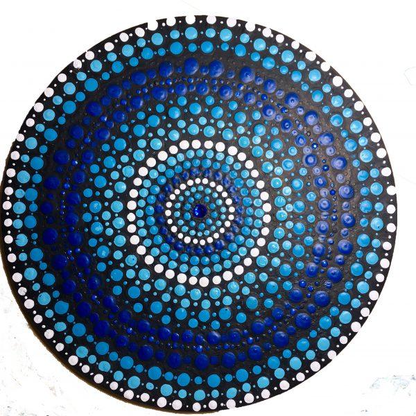 Dotting, dot mandala, blue, healing