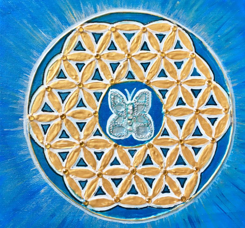 Personalized gift, flower of life, mandala, butterfly
