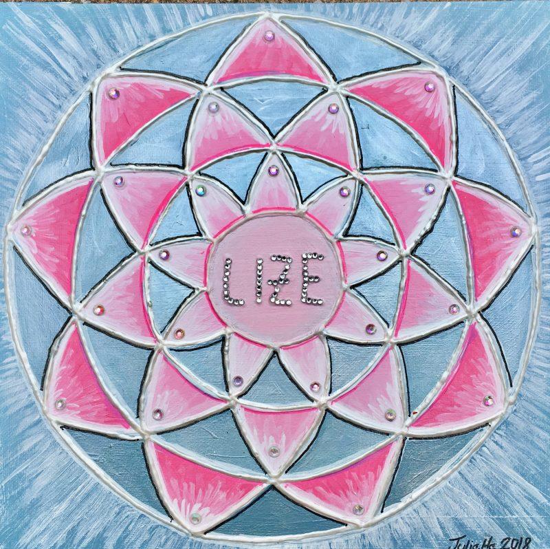 mandala, lize, pink, personalised gift, canvas, birthday present